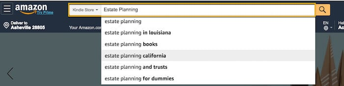 screenshot Amazon search bar how to write a Kindle book
