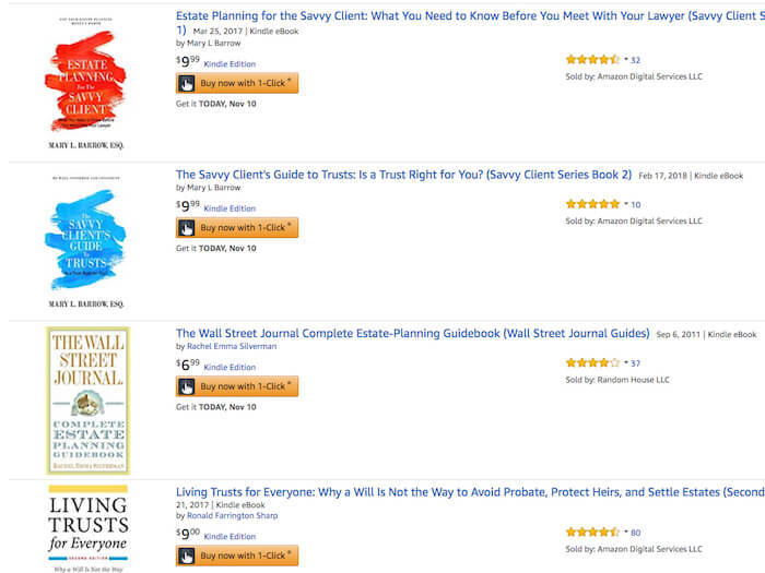 screenshot of books on Amazon how to write a Kindle book