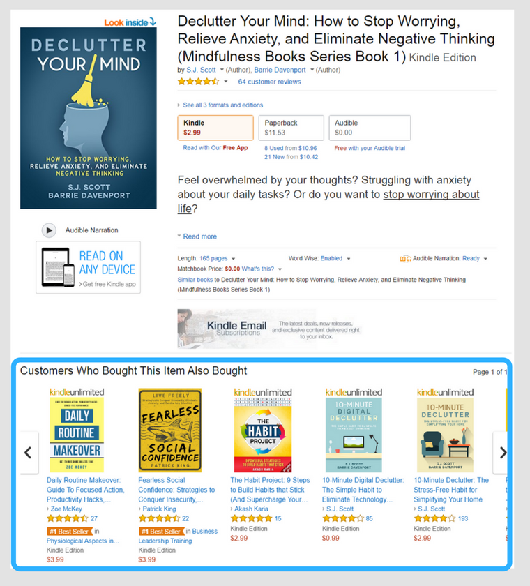 The Customers Also Bought section of Declutter Your Mind