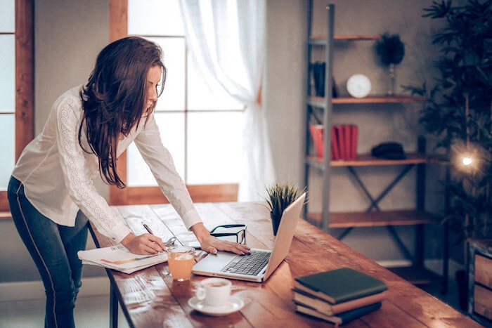 woman at desk book marketing