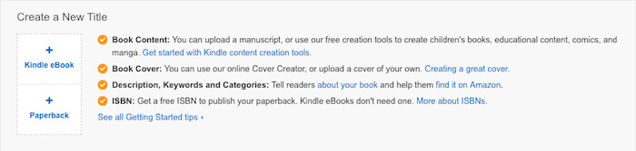 screenshot of KDP step one what happened to Createspace