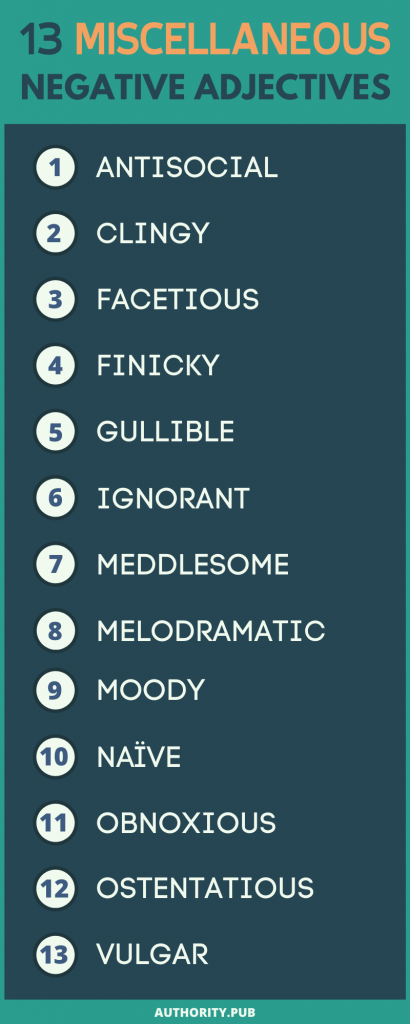 Miscellaneous Negative Adjectives